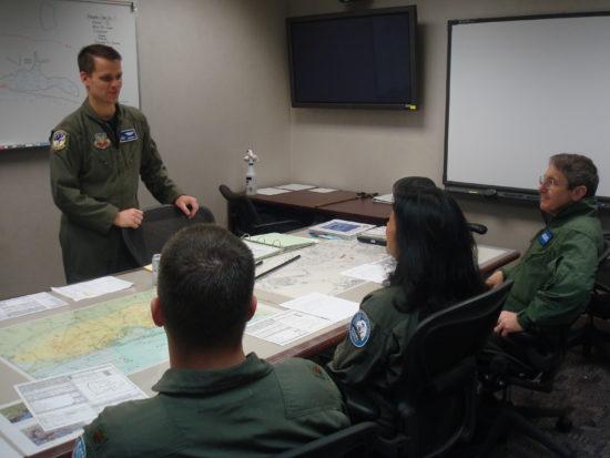 Pre-flight briefing.